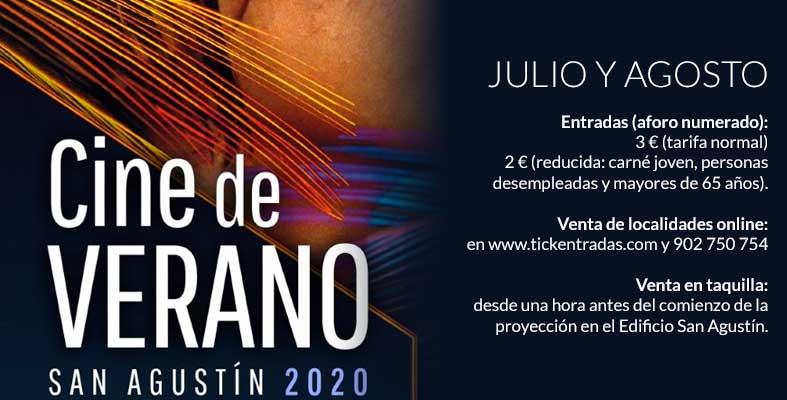 Programación del Cine de Verano 2020 en San Agustín