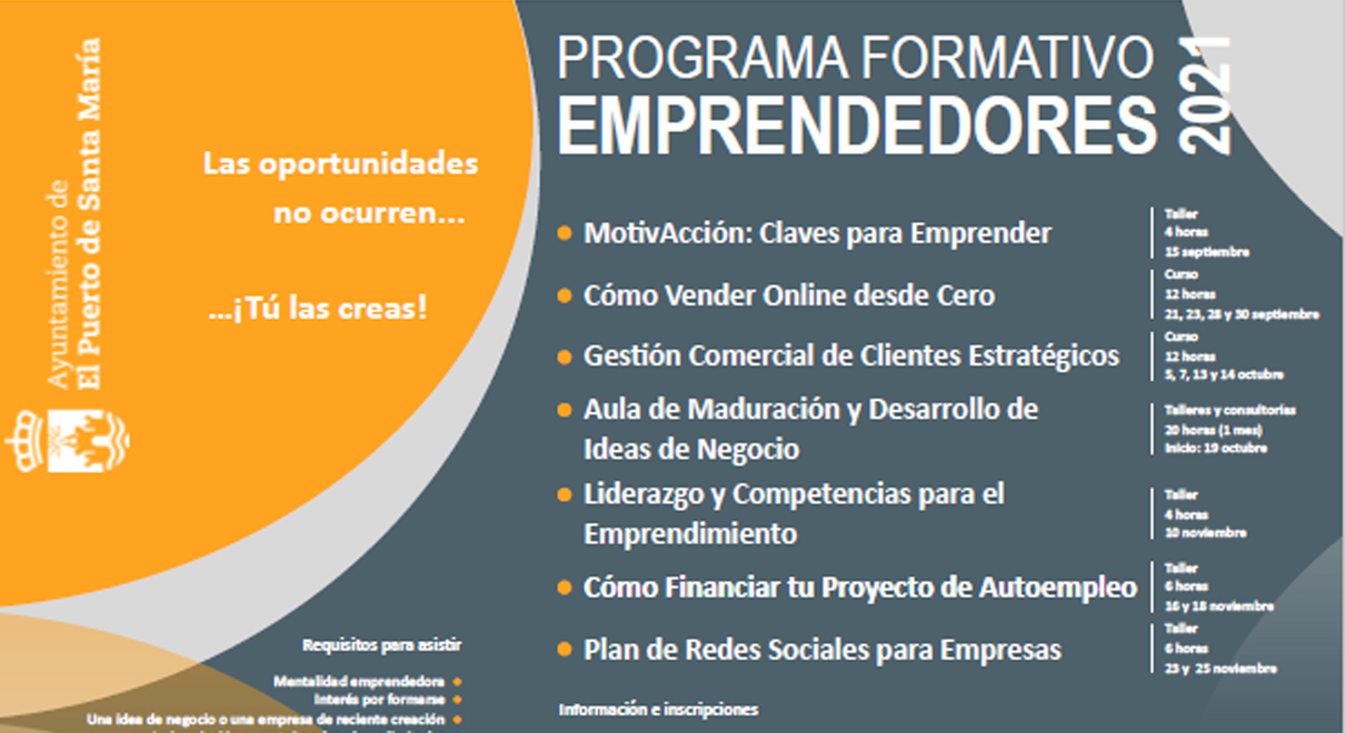 Desarrollo Económico presenta una nueva edición del Plan Formativo 2021 para fomentar el emprendimiento como clave del futuro empresarial